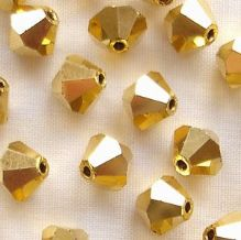 6mm Preciosa Crystal Bicones Crystal Aurum - 72